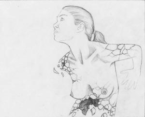 Mujer Desmoronada Dibujo